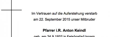 Pfarrer i.R. Anton Keindl verstorben